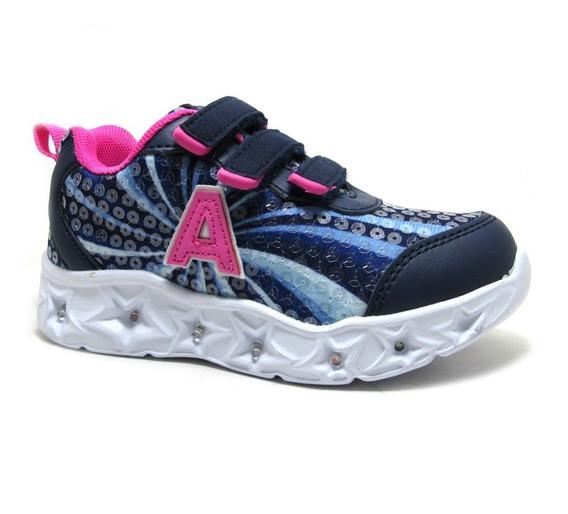 Zapatillas Con Luces Addnice Starlight Velcro Azul Niñas
