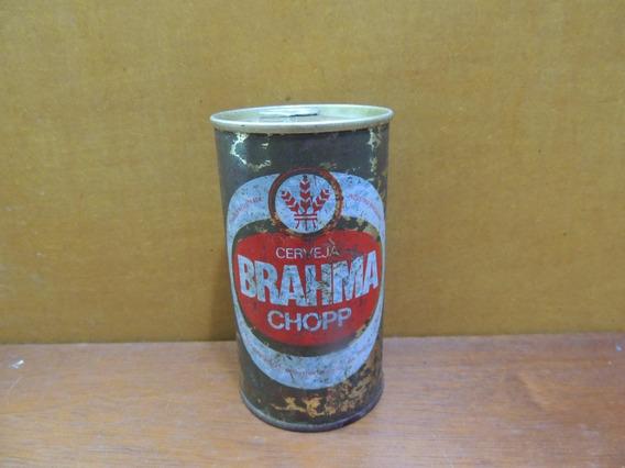 Antiga Lata De Ferro Cerveja Brahma Chopp Vazia Com Lacre
