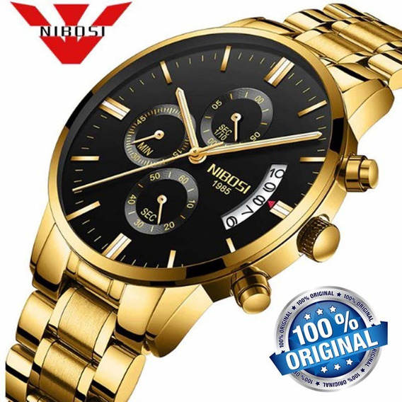 Relógio Masculino Nibosi 2309 Quartzo Dourado Original