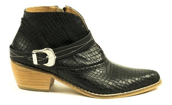 Zapato Lucerna Tejana Corta Cuero Texturado Negro