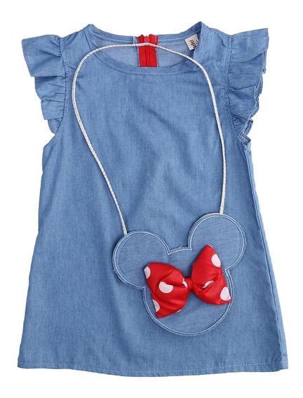 Lindo Vestido Infantil - Minnie - Com Bolsinha