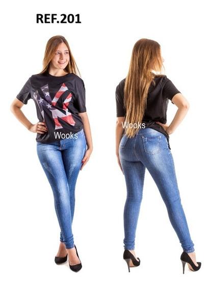 Kit 2 Calças Jeans Feminina Cintura Alta Hotpants Lycra Slim