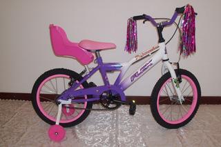 Bicicleta Nena Rodado 16 Con Rueditas Y Sillita Muñeca Flex