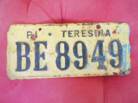 Antiga Placa Automóvel Amarela Duas Letras Teresina Piauí