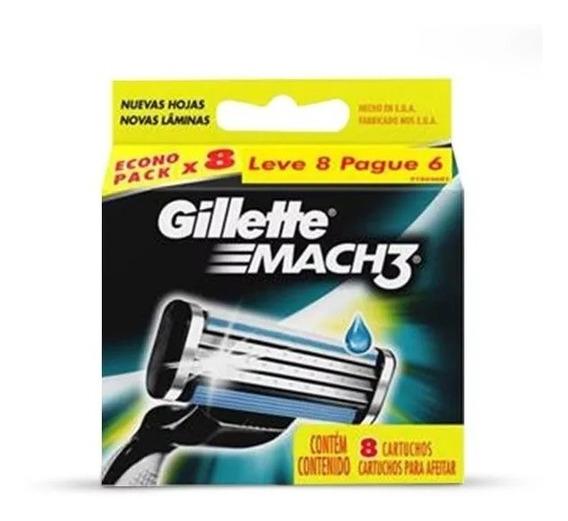 Gillette Mach3 Com 8 Cartuchos Para Barbear.
