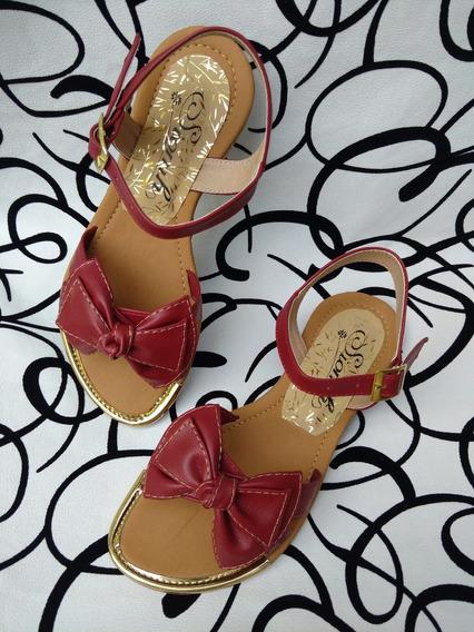 Sandalia Plana Elegante De Moda Para Mujer Roja Envío Gratis