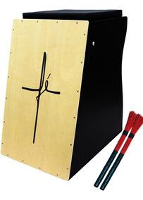 Cajón Quilles Eletroacústico Cruz Fé + 2 Vassourinhas