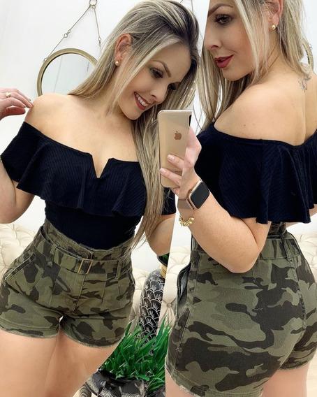 Shorts Jeans Feminino Camuflado Cintura Alta Lycra 34 Ao 44