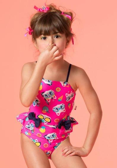 Maiô Kids Lacinhos Gatinha Com Proteção Uv Fps 50 Puket