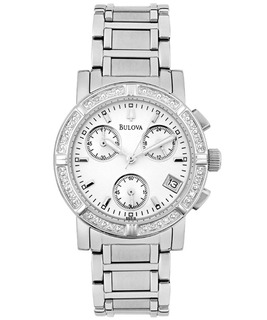 Reloj Bulova 96r19 Diamond Crono Acero Dama Agente Oficial