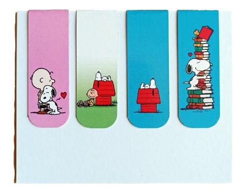 Marcador De Página Magnético Kit 4 Marcadores Snoopy