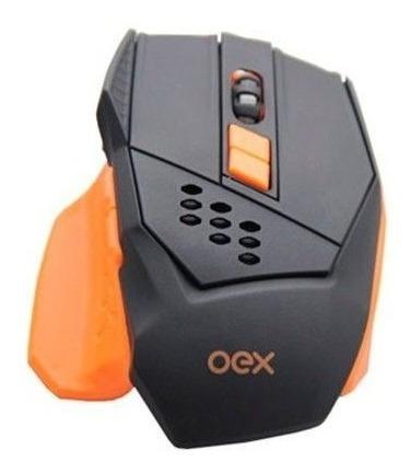 Mouse Gamer Oex Steel Ms305 Preto E Laranja Com Led, 7 Botõe