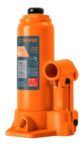 Imagen 1 de 5 de Gato Hidraulico T. Botella 4 Ton Truper 14812