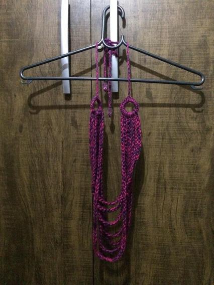 Colar De Lã Cores Rosa/marrom