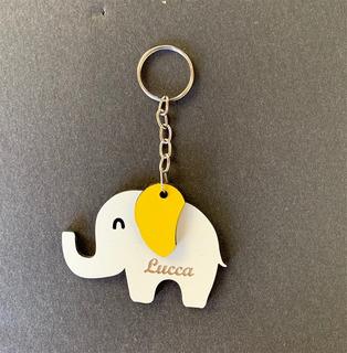 30 Chaveiros Elefantinho Com Nome Do Bebê Em Mdf