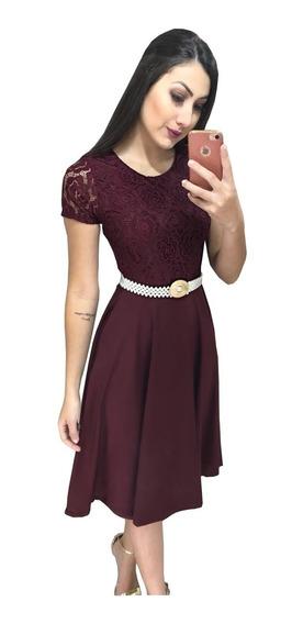 Vestido Social Rodado Gode Midi Evangelico Princesa Moda