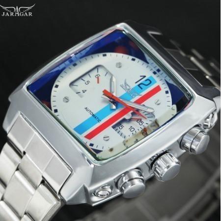 Relógio Automático Jaragar Caixa Quadrada + Promoção