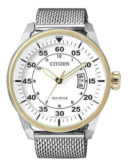 Reloj Citizen Hombre Eco Drive Fecha Acero Blanco Aw136454a