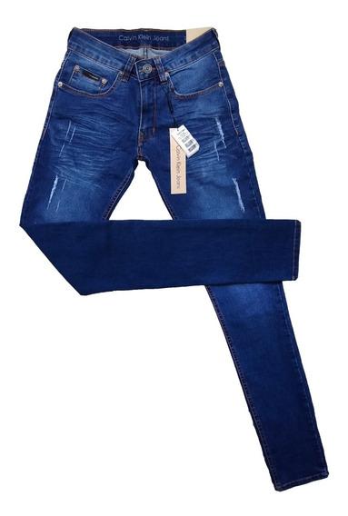 Calça Jeans Masculina C*k Distressed Slim Fit Original Crumple