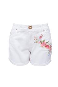 Shorts Feminino Branco Bordado Sck