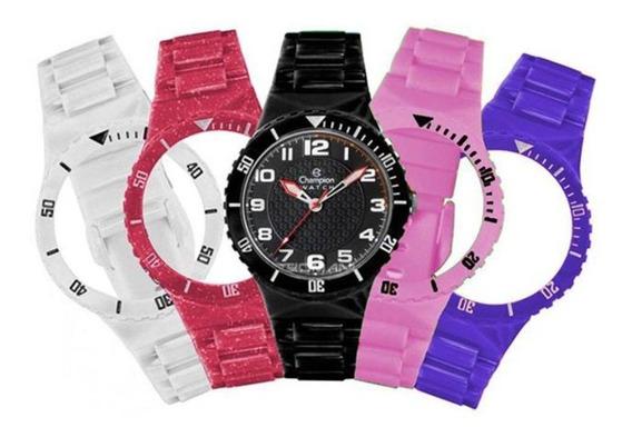 Relógio Unissex Champion Troca Pulseiras Cp38086xp - Preto