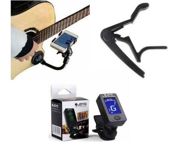 Kit Suporte Celular Guitarra Violão + Capotraste + Afinador