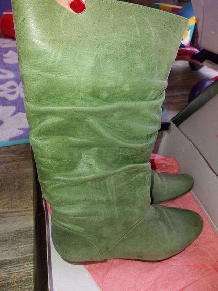 Botas Sibyl Vane Cuero Color Verde Menta N° 36 Impecables