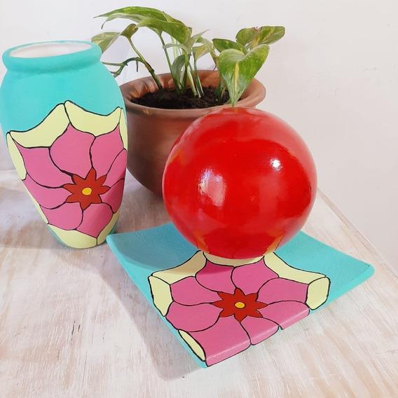 Centro De Mesa+plato Con Esfera+pintados A Mano+jarrón+deco