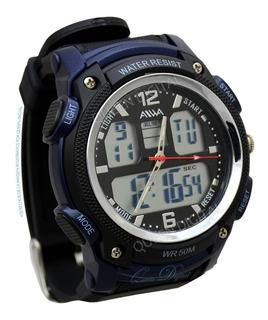 Reloj Sumergible Deportivo Hora Dual Luz Cronometro Alarma
