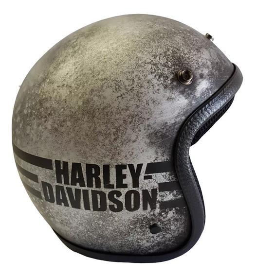 Capacete Old School -harley Davidson- Silvertexture -