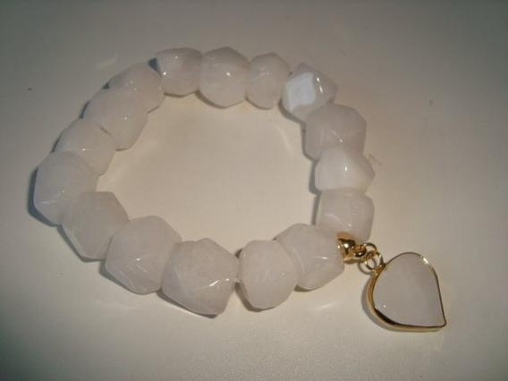 Pulseira Elástica Pedra Natural Quartzo Branco Facetada