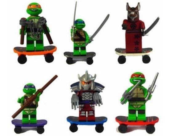 Kit 6 Mini Figuras Bonecos Tartarugas Ninjas.