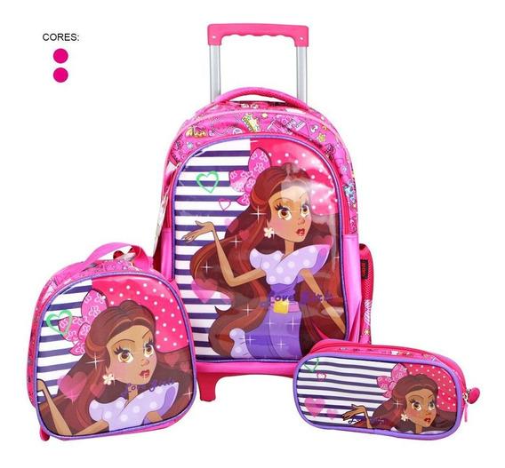 Kit Escolar Infantil Mochila Rodinha Lancheira Estojo Girls