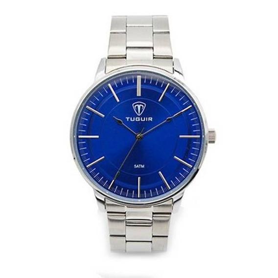 Relógio Masculino Tuguir 5000 Prata E Azul