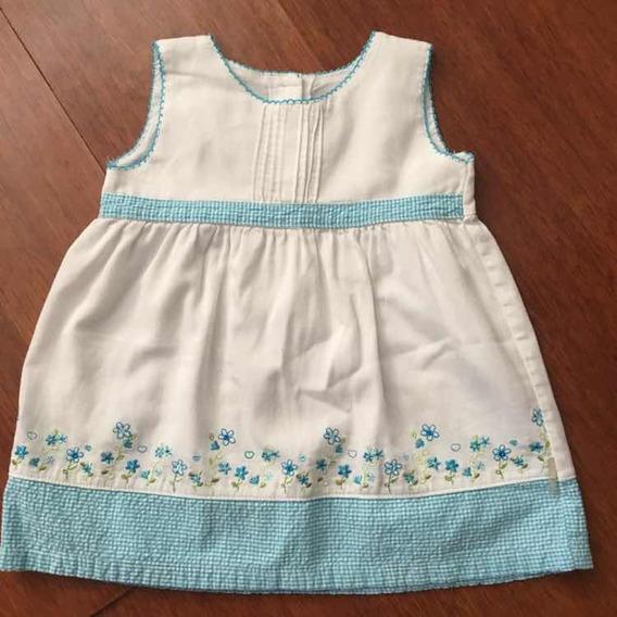 Hermoso Vestido Blanco Con Azul 18 Meses Importado