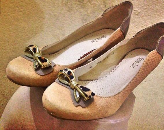 Sapato Boneca Salto Grosso Lavo Onça Bege Texturizado 39