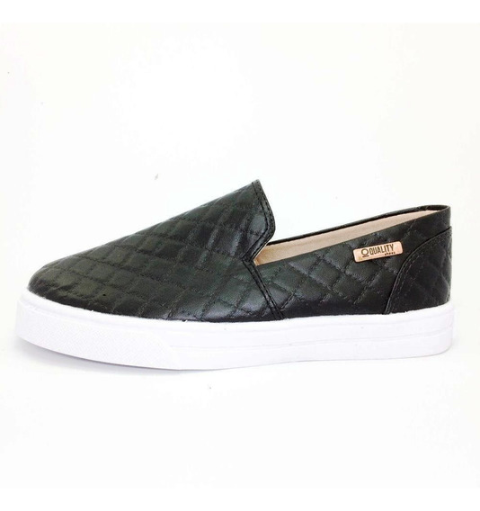 Tênis Slip On Quality Shoes Feminino 004 Matelassê Preto
