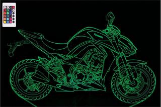 Luminária Led 3d Kawasaki Ninja Z1000 - 16 Cores Controle