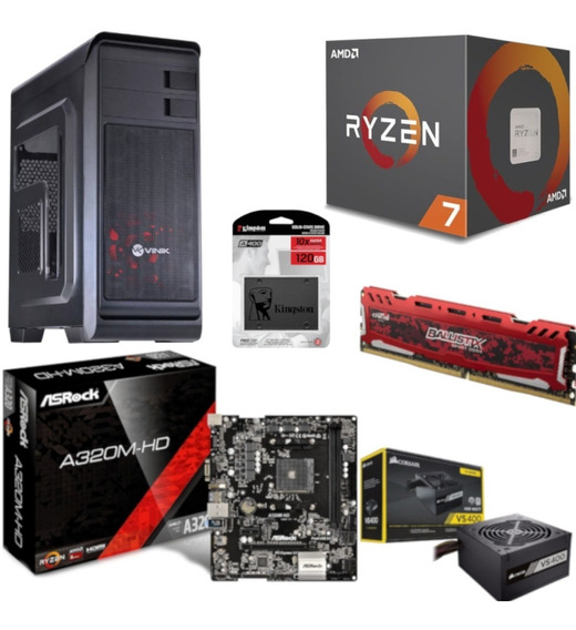 Pc Hunter Ryzen R7 2700 A320m Hd Bl 4gb Vs400 Ssd 120gb