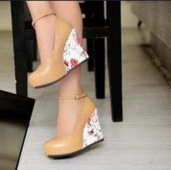 Sapato Feminino Importado Salto Anabela Tornozeleira Hj4523