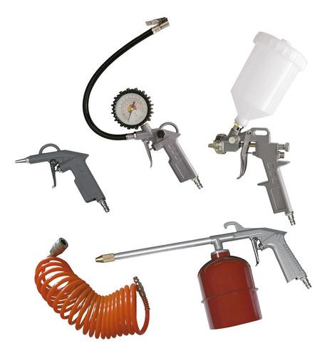 Kit Set Compresor Aire Pistola Pintar Inflador 5 Piezas