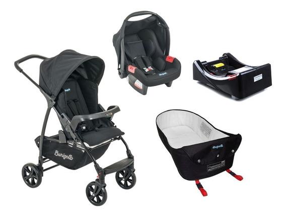 Carrinho Bebê Burigotto Ecco + Bebê Conforto + Base + Ninho