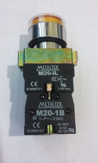 Botao Puls. Ilumin. Amarelo 220v Metaltex Na+nf