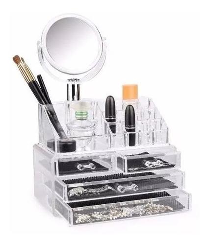 Cosmetiquero Acrílico Organizador De Maquillaje Con Espejo