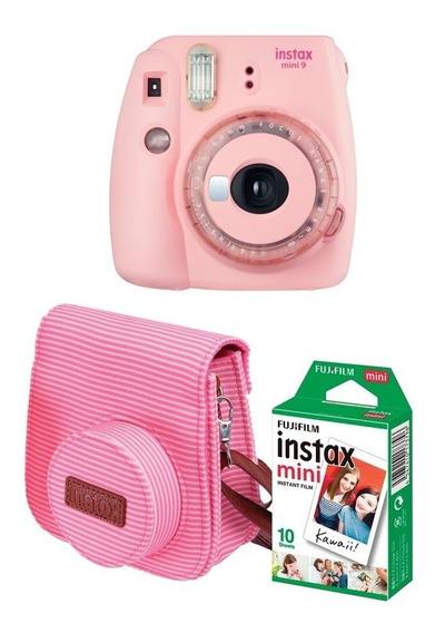 Kit Câmera Instax Mini 9 Rosa Claro + Bolsa + 10 Fotos