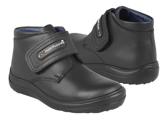 Zapato Escolar Hush Puppies Para Niño Simipiel Negro 60280