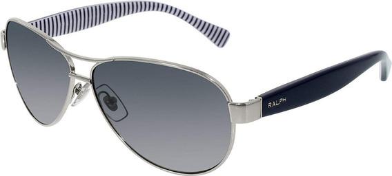 Óculos Sol Original Ralph Haste Azul Armação Prata Usado