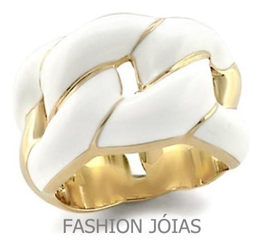 Anel Branco Banhado A Ouro 18k - Luxo