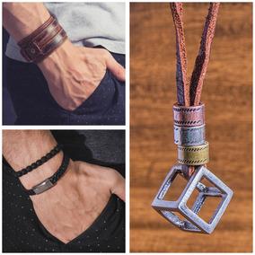 Kit Acessorio Masculino Colar + Bracelete + Kit 2 Pulseiras