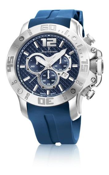 Relógio Pulso Jean Vernier Aço Cronógrafo Masculino Jv02110